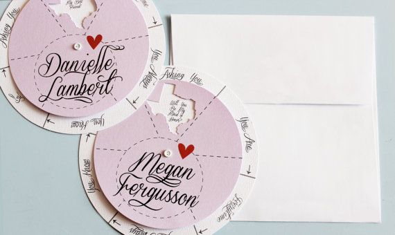 2 Personalized Spinwheel Bridesmaid Cards  2 white by Cropacature, $17.00