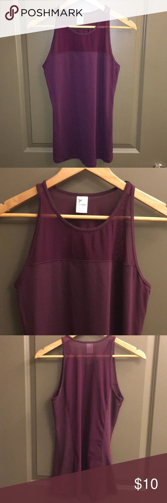 OLD NACY mesh workout tank Maroon work out tank with mesh neck insert, and whole back mesh (see last pic). Worn once. Old Navy Tops Tank Tops