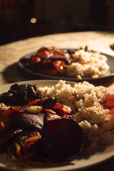 roasted vegetables, spicy beans and rice with roasted penaut