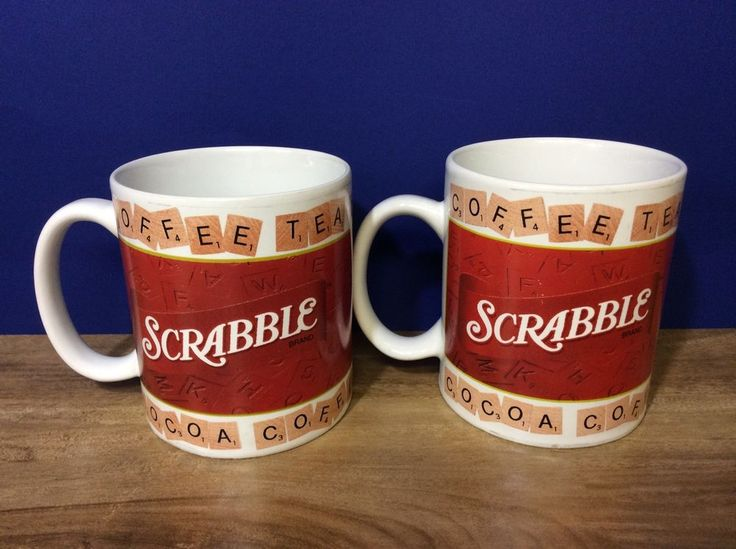 Scrabble Mugs Set Of 2 Coffee,Tea, Hot Cocoa Cups