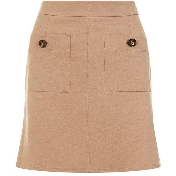 Camel Double Pocket Front A-Line Mini Skirt ($23) ❤ liked on Polyvore featuring skirts, mini skirts, camel, a line mini skirt, camel skirt, a line skirt, beige skirt and zipper skirt