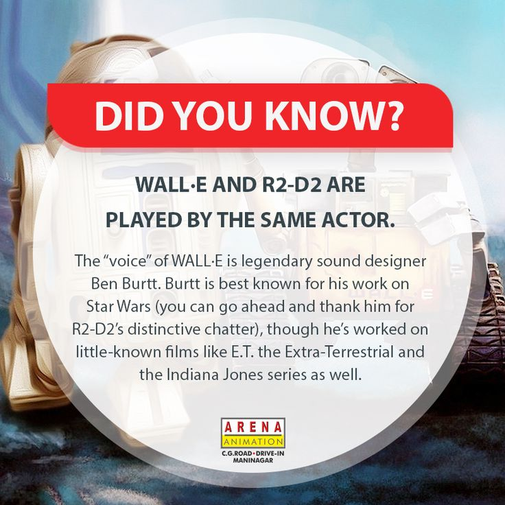 Did You Know? WALL·E AND R2-D2 ARE PLAYED BY THE SAME ACTOR!  #dyk #AmezingFacts #AwesomeFacts #PixarMovieFacts #MovieFacts #OMGFacts #WallE