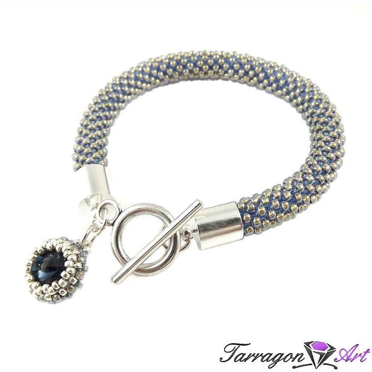 Bransoletka szydełkowo koralikowa Seed Beads - Montana Blue | Tarragon Art - stylowa biżuteria artystyczna