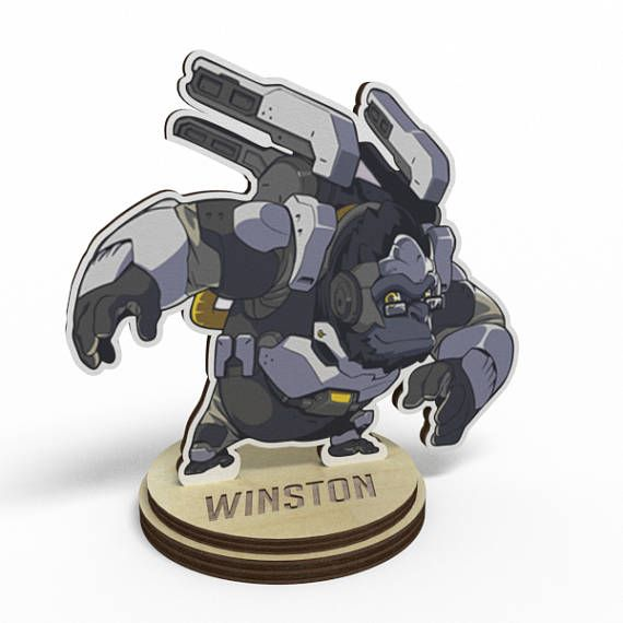 Winston Overwatch Wood Figurine on a stand  Hi there!  ♥It is the best present for any fan of Overwatch game!  ✤You may choose any(!) character to add or remove, more characters are coming soon!  ------------------------------------------------------------------------------------ ►Buy any 3 - Get one for free! PM me or leave a note which one you want! ►Orders from 50$+ are also eligible for free shipping(Use coupon code: WMFS50 ) ►Feel free to ask for custom order if you want specific…