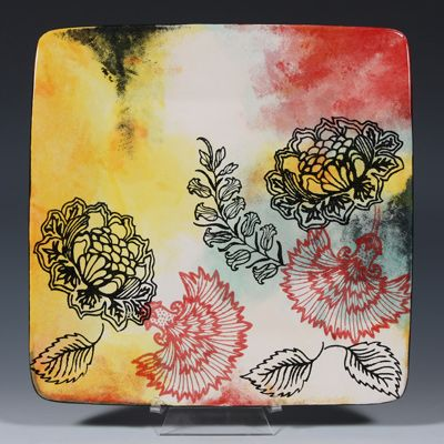 Floral Screening pottery (project from Mayco's Ceramic camp workshops).  Silkscreens available in the UK from Country Love Crafts and Personal Impressions.    http://www.personalimpressions.com/product_supplier.php?supplier_code=MARS01