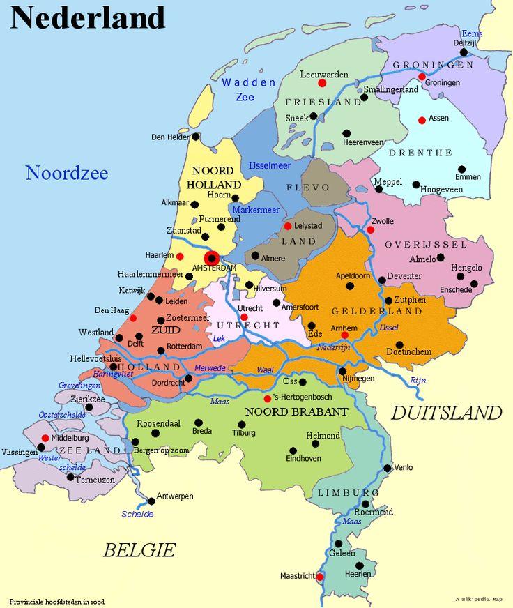 landkaart Nederland met hoofdsteden