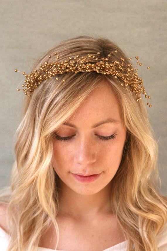 Gold Baby S Breath Botanical Halo Bridal Head Piece Gold