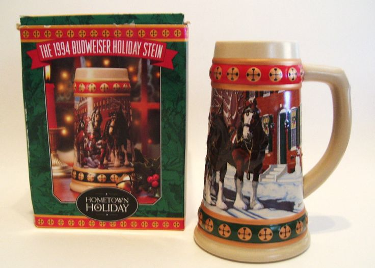 1994 Budweiser Christmas Stein with Original Box, Certificate Hometown Holiday by okanaganvintage on Etsy