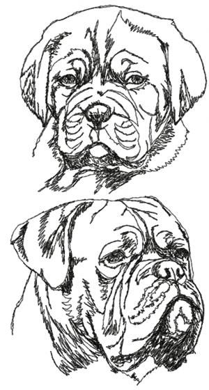 Advanced Embroidery Designs - French Mastiff Set (Dogue de Bordeaux)