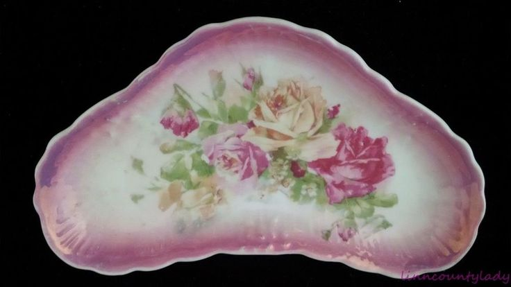 Gorgeous Vtg Bone Dish Pink Roses Victorian Dinnerware Accessory Scalloped FR SH #Unknown