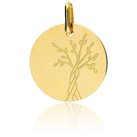 Cette médaille de forme ronde polie en or jaune 9 carats qui représente l'arbre de vie.