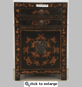 Black Lacquered Chinese Cabinets (Black Bedside Cabinet)