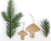Birch bark mushroom ornaments eco christmas decorations, Gold caps