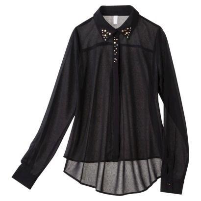 Xhilaration® Junior's Studded Collar Button Up Shirt in Black Size: L/XL