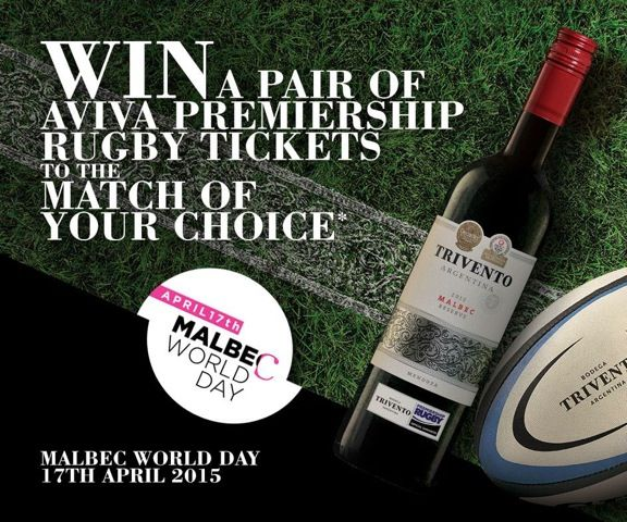 To help Celebrate Malbec World Day on 17th April - we're giving away 5 pairs of tickets to see a Premiership Rugby match of your choice.   Simply like our page, tell us which team you support and you will be entered into the draw for a chance to win.   5 lucky winners will be drawn at random on Malbec World Day, 17th April...