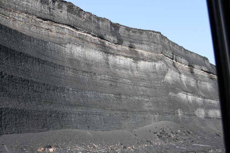 Coal mine - coal wall - height 15 m - Bílina, Czech republic