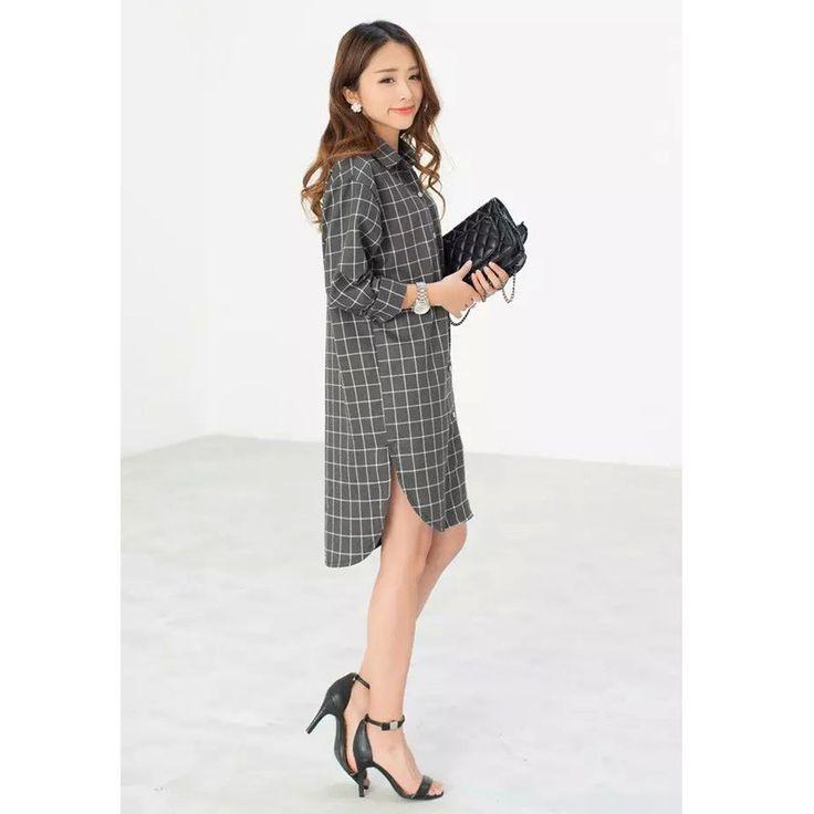Women Korean Plaid Plus Size Long Shirt Button Long Sleeve Tank Tunic Top Blouse #DL #ButtonDownShirt #Casual