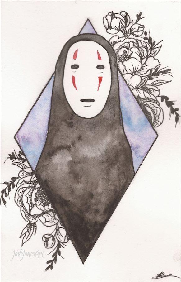 No Face And Flowers By Jadejonesart Www Etsy Com Uk Shop Jadejonesart Tags Art Artist Painting Drawing Wat Ghibli Art Spirited Away Art Amazing Art Painting