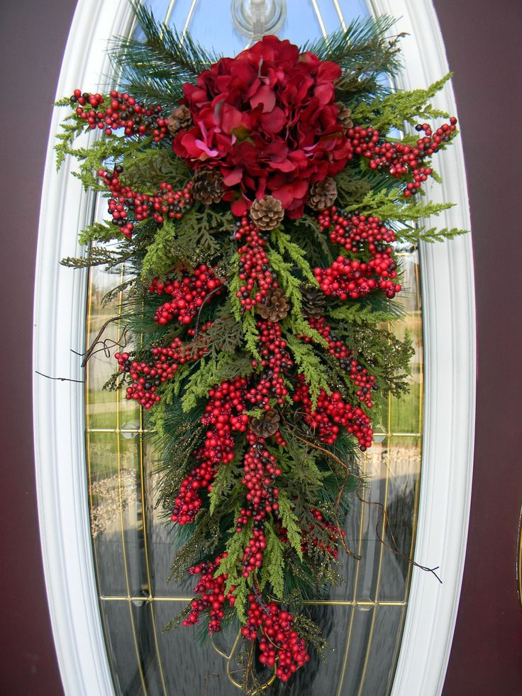 Christmas teardrop swag door decor home for the holidays for Door garland christmas
