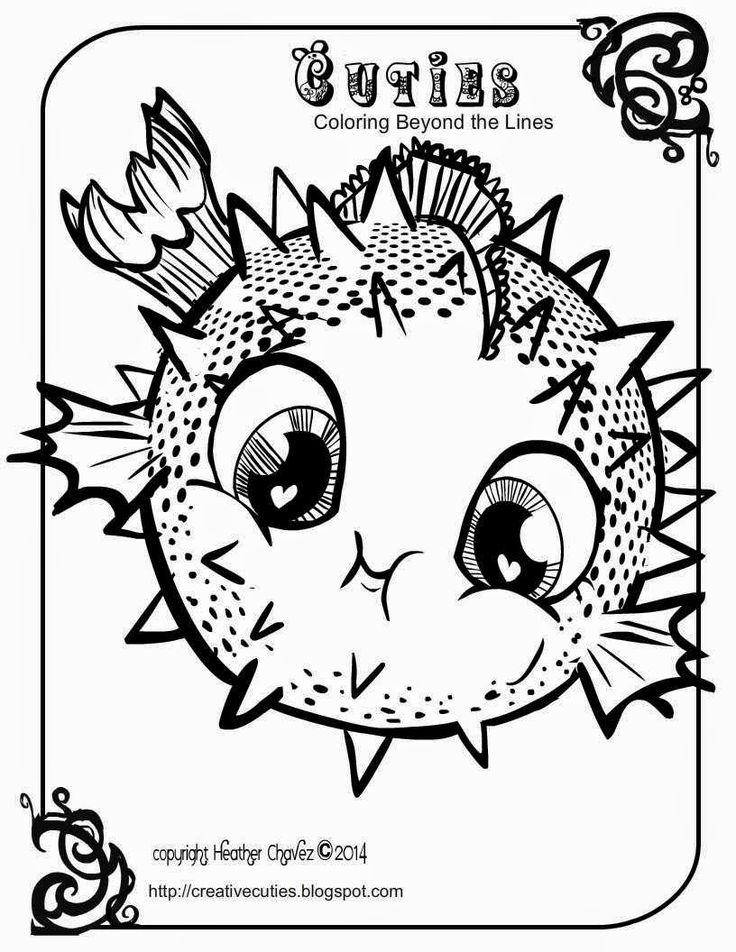 Creative Cuties: Blowfish coloring page