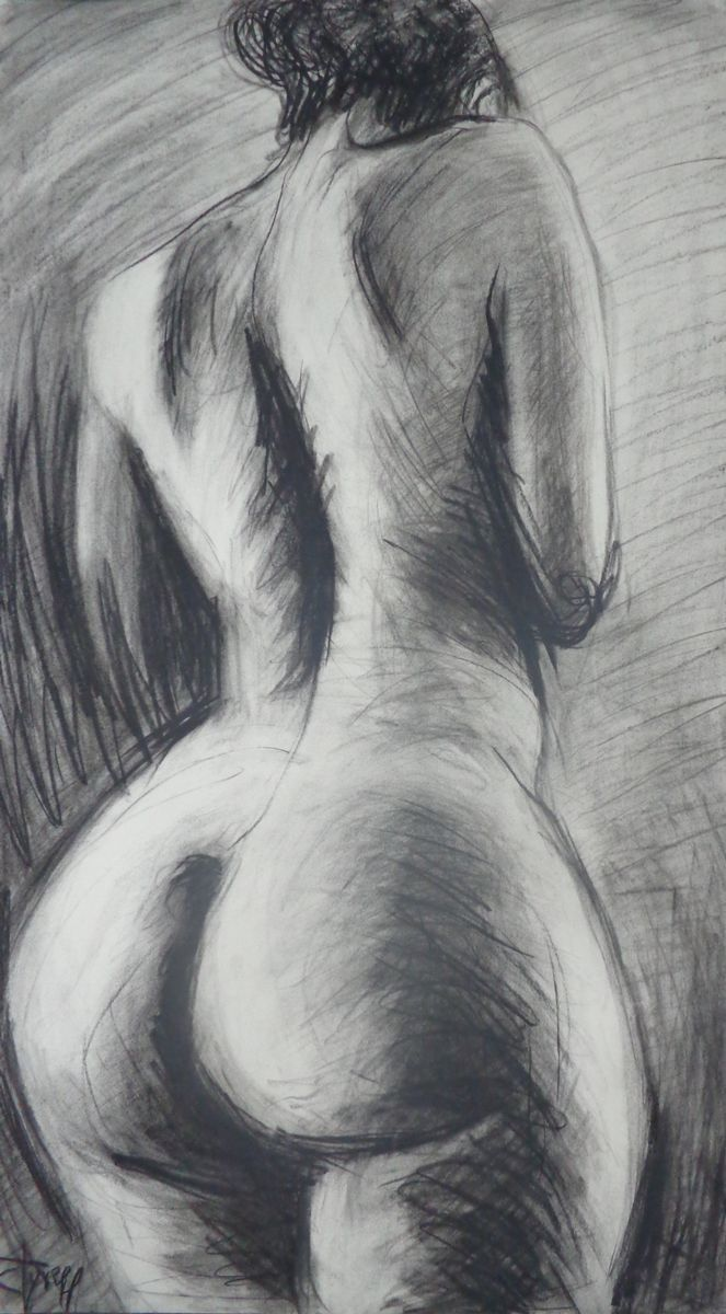 "Hera - Female Nude Hera, fertility goddess. Original unique contemporary figurative charcoal drawing on paper, unframed. Image of a female nude view from the rear. This work is part of  a new series of large drawings of female and male figures. The series is an homage to the harmonious human body inspired by the richness of Art History.  I selected gods and goddess names from Greek Mythology. Each drawing is an impressive real life size 22"" x 39"" (56 cm x 100 cm). Certificate of…"