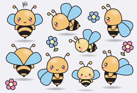 Premium Vector Clipart Kawaii Bees Cute by LookLookPrettyPaper