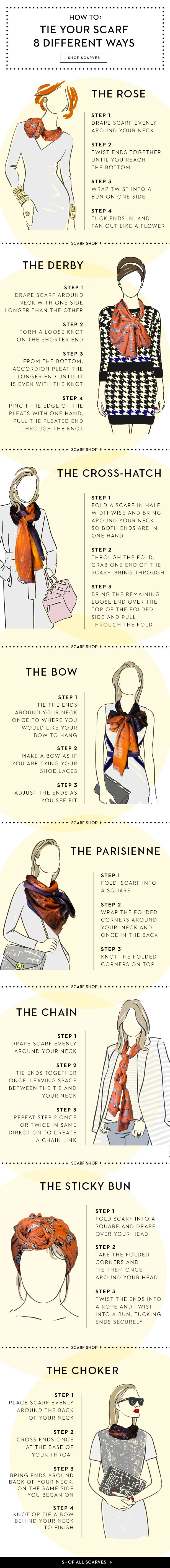 8 Ways to Wear a Scarf this Spring - from fab.com                                                                                                                                                      More
