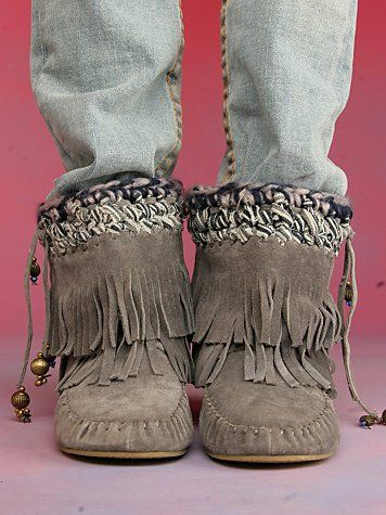 Free People Fringe Moccasin Boot. I don't like shoes like this.. WHY DO I LIKE THESE??