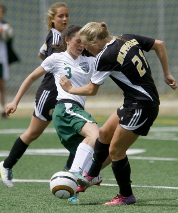 KW vs Buffalo-KW's Sara Lamb puts up a block against Buffalo's Rileigh Olson on Saturday afternoon at KWHS in Casper. See the ranks at http://trib.com/sports/high-school/soccer-boys/prep-soccer-standings/article_c81efc13-ff62-5c7b-9318-a937a36bbfac.html