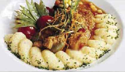 Veal Stew with Olives Save Print Prep time 35 mins Cook time 20 mins Total time 55 mins Author: Tony Spataro, chef at the Da Toni restaurant Recipe type: Main Serves: 4 Ingredients 1½ lb Veal, cubed for stewing 675 g ½ cup flour 125 ml to taste, salt and freshly ground pepper 1 teaspoon ground sage 5 ml oil butter 1 clove garlic, chopped 2 large onions, chopped 2 slices prosciutto, chopped finely 1 cup dry white wine 250 ml 1 can, 19 oz Italian plum tomatoes 3 oz pitted black olives 90 g as…