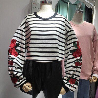 2 colors 2016 autumn rose embroidered lantern sleeve long-sleeve stripe sweatshirts womens hoodies  (A8562)