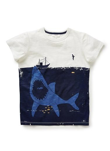 100% cotton slub jersey short sleeve tee with front shark print