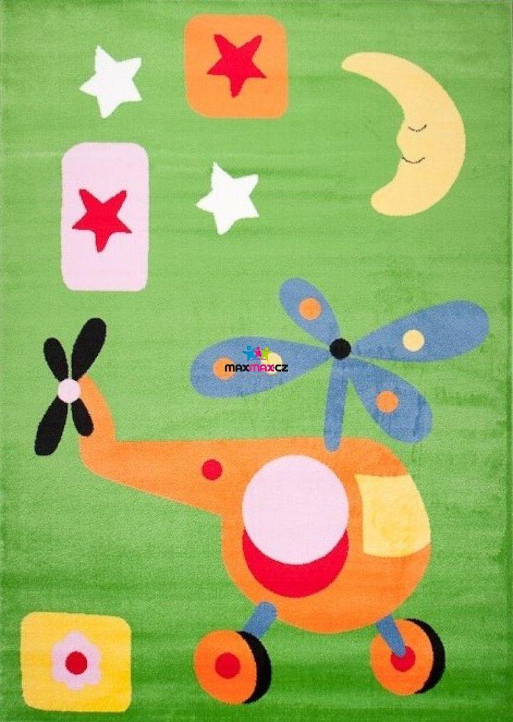 Dětský koberec VRTULNÍK - zelený