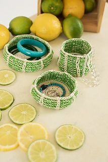 Lime Wedge Trinket Baskets, from I Like Knitting, April 2017  Brighten up your home with these cheerful, citrus-inspired trinket baskets. Worked in the round from the bottom up, you can make them any size you like. They are perfect for knitting notions, jewelry, or all those bits and pieces you need to keep surfaces tidy.