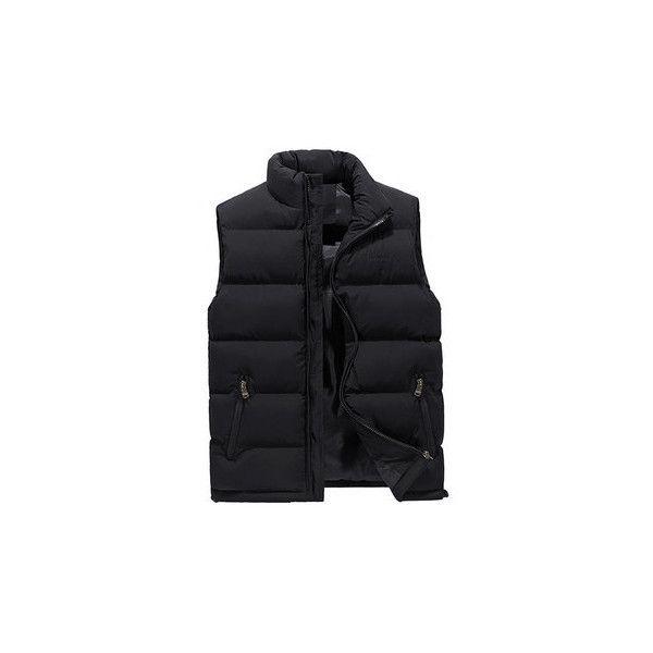 Solid Color Quilted Vest ($35) ❤ liked on Polyvore featuring men's fashion, men's clothing, men's outerwear, men's vests, black, men coats & jackets vests, mens zip vest, mens quilted vest, mens slimming vest and mens slim fit outerwear