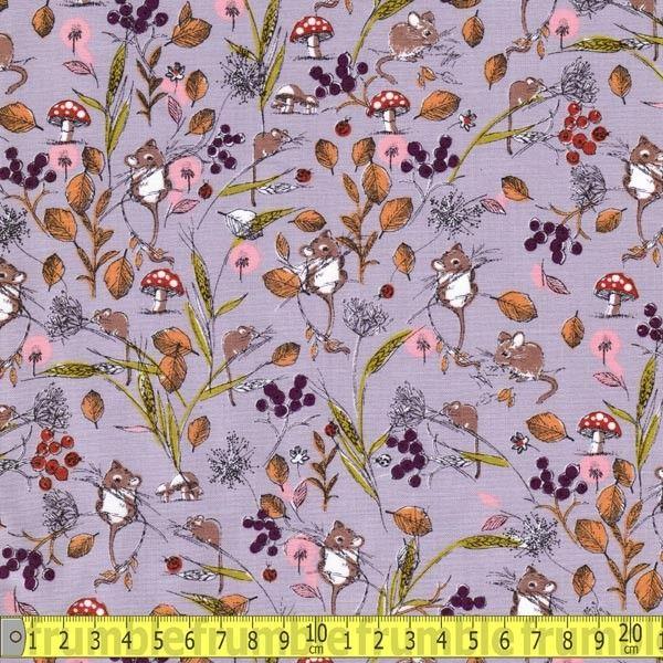 Wildlife Field Mice Heather - Fabric