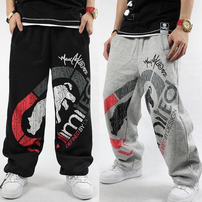 Мода новые мужчины мешковатые спортивные штаны рэп хип-хоп мальчик хип-хоп н . э . брюки паркур скейтборд брюки серый и черный спортивные штаны
