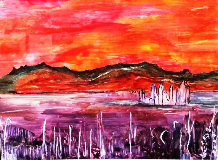 """RUINS ACROSS THE LAKE"" Encaustic Painting. FOR SALE: $450."