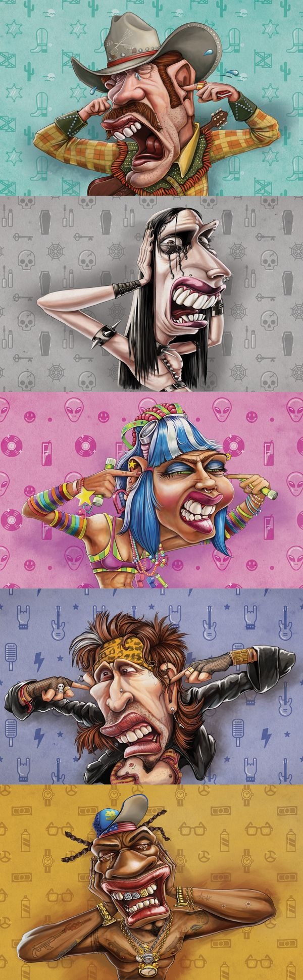"""Heart 104.9fm - illustrations by Studio Muti for """"We're turning up the R'nB"""" campaign. By www.the-greenhouse.co.za"""