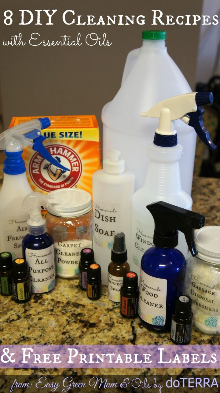 8 DIY Cleaning Recipes with Essential Oils with Free Printable Labels!