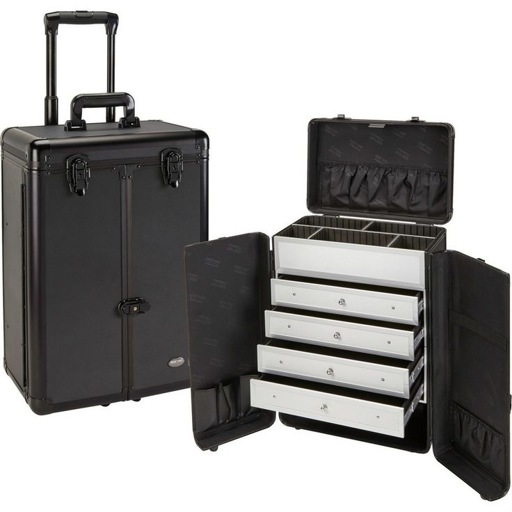 "Overall Dimensions: 14.25 x 9.25 x 20"" Trays: 12.75 x 6 x 2 Bottom: 12.75 x 6 x 4.25 Front of case splits open to reveal interior 4 premium lined, easy slide out drawers Adjustable/Removable dividers"