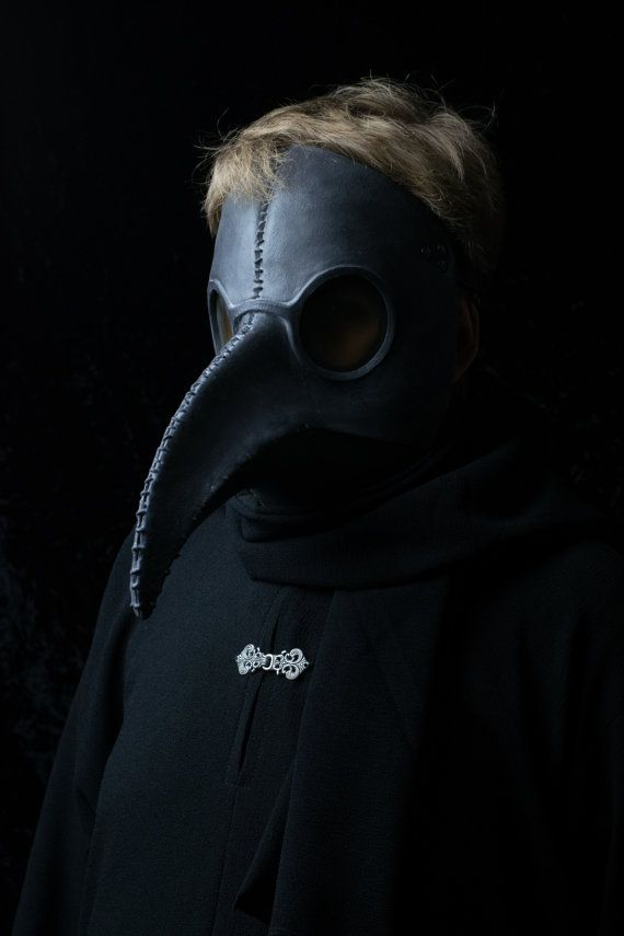 Traditional Black Plague Doctor mask by Ministryofmasks on Etsy
