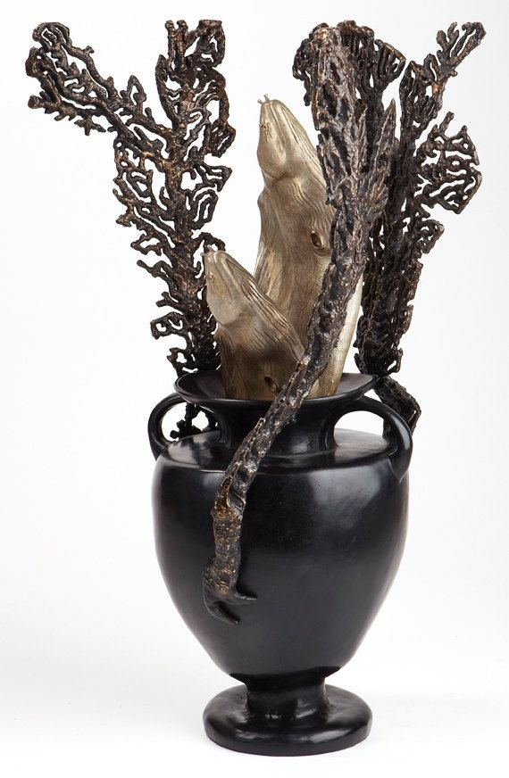 Bronze sculpture with eels and coral amphora by Kirk McGuire by kirkmcguiresculpture. Explore more products on http://kirkmcguiresculpture.etsy.com