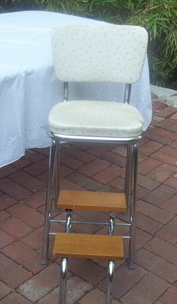 Vintage Shabby Kitchen Step Stool Chair Wood Steps Fold Up Unusual Old Style Has Some Wear