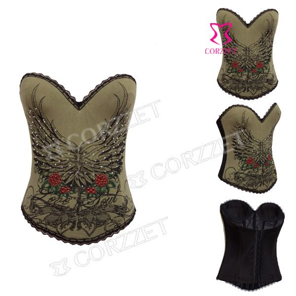 Army Green Cotton Corsets And Bustier Gothic Waist Training Corset Steampunk Plastic Boned Overbust Sexy Women Corselet Corpete //Price: $US $16.88 & Up To 18% Cashback //     #gothicoutfit