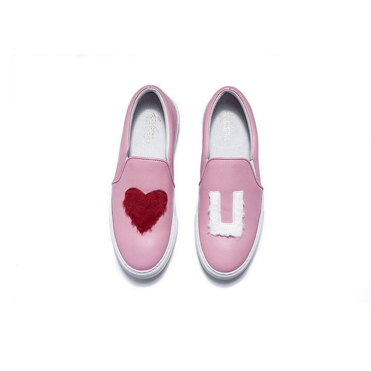Joshua Sanders Love U Leather Platform Sneakers