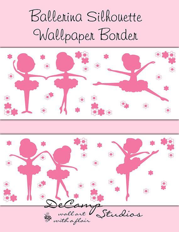 BALLERINE rose SILHOUETTE Wallpaper Border Wall Stickers bébé fille salle de danse pépinière Childrens Ballet enfants chambre Art déco Stickers