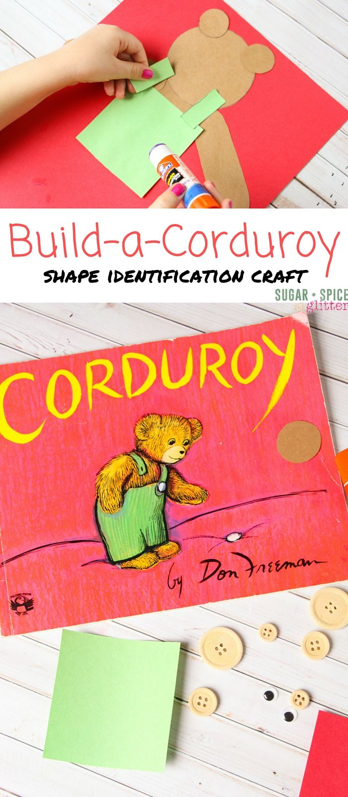 A fun shape identification craft to try after reading Corduroy - this easy book craft for kids is great for mixed age groups or as a busy bag activity.