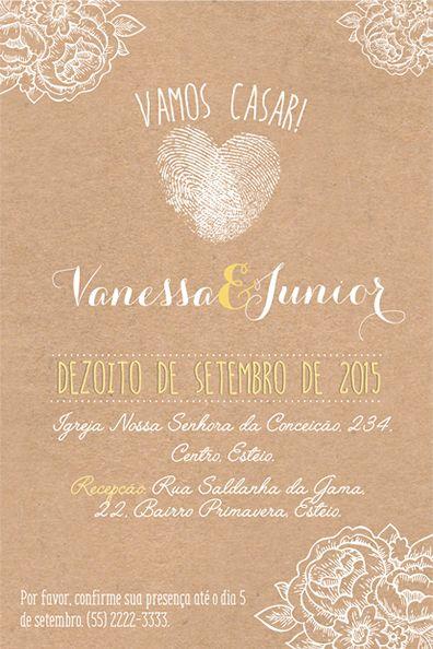 Convite de casamento digitais de coração
