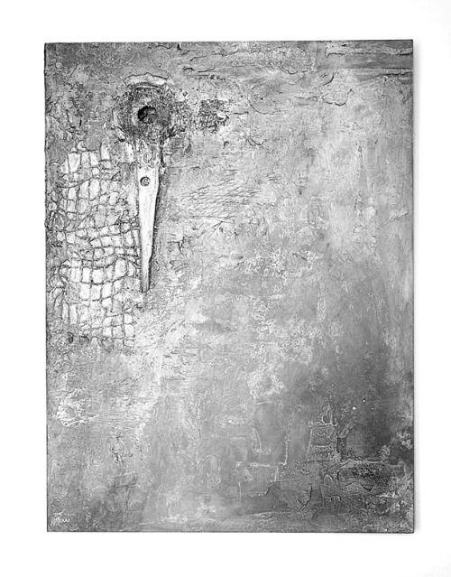 SENZOR II  -kombinovaná technika, nalezené předměty -mixed media, found objects 80 x 60 cm